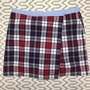 Tommy Hilfiger Red and Blue Plaid Skort 1990s Sz 8